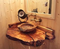 The Natural Teak Wood Vessel Bathroom Sink is made from genuine teak wood burl with polished interior and rough exterior. Cement Bathroom, Rustic Bathroom Shower, Farmhouse Bathroom Sink, Rustic Bathroom Designs, Rustic Home Design, Rustic Bathrooms, Wood Design, Wood Sink, Wood Vanity