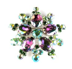 DeLizza and Elster Juliana Watermelon Green Rhinestone Brooch and from annasvintagejewelry on Ruby Lane