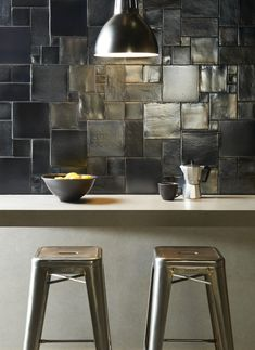 Love the randomized sqaurea mosaics. The Residence Collection - contemporary - kitchen tile - other metro - The Winchester Tile Company Contemporary Kitchen Tiles, Conservatory Dining Room, Metallic Wall Tiles, Tile Crafts, Fresco, Cuisines Design, Luxury Kitchens, Cool Walls, Tile Design