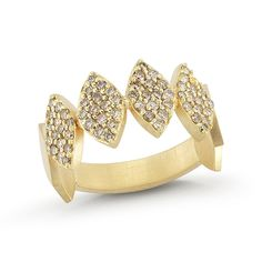 "18K yellow gold ""crown"" ring with medium eye shut piece set 0.65ct. light chocolate diamonds"