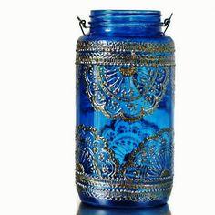 Lanterne marocaine pot verre bleu azur avec des par LITdecor, $48.00