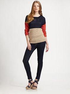 360 Sweater - Colorblock Sweater - Saks.com