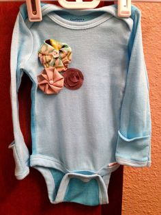 Baby Girl Onesie with Handmade Flowers