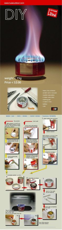 How To Make A Soda Can Alcohol Stove #infographic #preppers