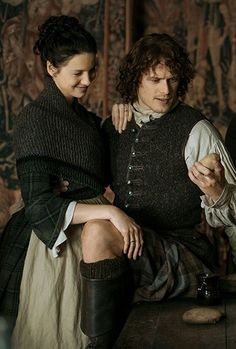 Jamie and Claire admire the potato crop at Lallybroch