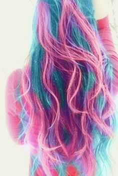 Blue Purple Pink Ombre Color Hair