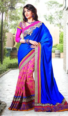Blue and Pink Jacquard Velvet Half N Half Saree Price: Usa Dollar $106, British UK Pound £63, Euro78, Canada CA$115 , Indian Rs5724.