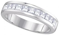 14kt White Gold With Princess Cut Invisible Setting Diamonds Wedding Ring Bridal Anniversary Band (1.00ctw)...