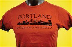 Portland Oregon Paris Funny T Shirt Men's by CougarTShirtCompany Portland Skyline, Portland City, Portland Oregon, Funny Tshirts, Long Sleeve Shirts, Paris, Mens Tops, T Shirt, Etsy
