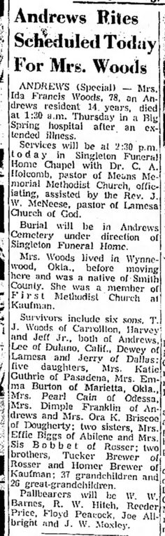 Ida Francis (Brewer) Woods - obituary_2 Lubbock Avalanche-Journal, 4 Mar 1967, Sat, Page 20