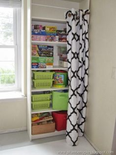 Hide Away Storage--use fold out curtain rods?