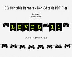Printable - Level 11 Game Controller - Gaming Birthday Party - Gamer - Birthday Party - You Print Files 40th Birthday Quotes, 1st Birthday Banners, 30th Birthday Parties, Birthday Games, 1st Birthday Girls, Birthday Beer, Wife Birthday, 11th Birthday, Happy Birthday Printable