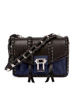 V3JTJ Proenza Schouler Hava Whipstitched Chain Shoulder Bag, Black