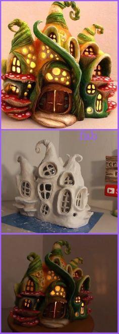Clay Fairy House, Fairy Garden Houses, Fairies Garden, Fairy Gardens, Fairy Crafts, Garden Crafts, Garden Ideas, Garden Tips, Plastic Bottle Crafts