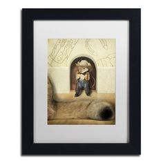 J Hovenstine Studios 'New Mouse In Town' White Matte, Framed Canvas Wall Art