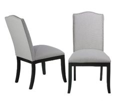 Cortesi Home Duomo Linen Crown Back Dining Chair, Stone Grey, Set of 2