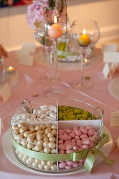 Like the divided dish Candy Table, Candy Buffet, Dessert Table, Italian Wedding Themes, Sweet Table Wedding, Jordan Almonds, Ballerina Birthday Parties, Baby Shower Parties, Holidays And Events