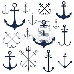 Nautical badge with anchor. Vector illustration of nautical anchor. Body Art Tattoos, New Tattoos, Small Tattoos, Tatoos, Cross Tattoos, Bird Tattoos, Feather Tattoos, Tattoo Ink, Art And Illustration