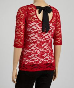 Another great find on #zulily! Red & Black Lace Bow Tie-Back Top - Plus #zulilyfinds