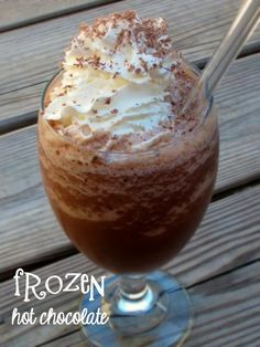 Frozen Hot Chocolate Oh my gosh, all I can say is it was a good thing that this frozen hot chocolate tasted so delicious. You'd never believe the mess I made while making it! We just got a new bl...