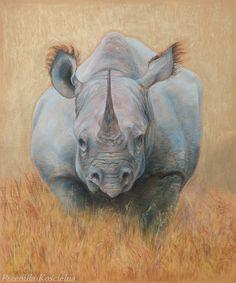 Original pastel drawing on the gold background. by Canis Art Studio. #animal l#art #original #pastel #drawing #painting #rhinoceros #earth #africa #safari #decorative #home #decor #design #canisartstudio
