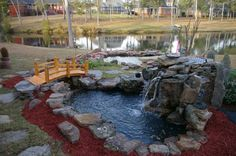 Backyard waterfall pond installation