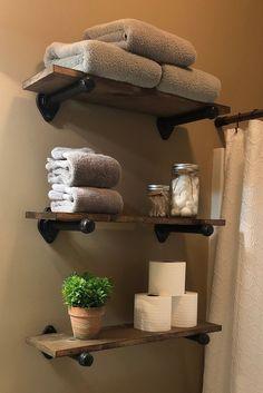 Farm House Shelves // Wood Shelf // Pipe Shelf// Pipe Shelving // Rustic Shelf // Rustic Shelves // Pipe Shelves// Floating Shelves - Diy Wallart Plus House Shelves, Shelves In Bedroom, Pipe Shelves, Rustic Shelves, Wood Shelves, Corner Shelves, Bathroom Shelves Over Toilet, Floating Shelves Bathroom, Bathroom Storage