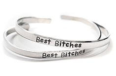 Best Bitches  Hand Stamped Aluminum Friendship Bracelet Pair -- To view further for this item, visit the image link.