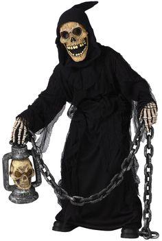 Ragazzi GRIM REAPER Halloween Costume Nero Ghoul Zombie Vestito Da Bambino