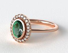 49374 engagement rings, designer engagement rings, 14k rose gold bezel set oval engagement ring item - Mobile