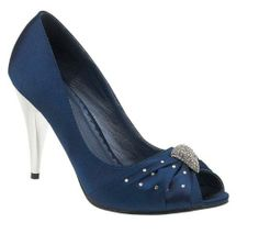 Womens navy blue evening shoes