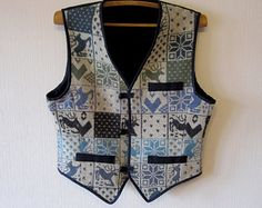 Women Vest Christmas Patterns Blue White Dear Romantic Waistcoat Ugly Sweaters Party Size Plus