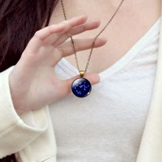 Cancer Blue Cabochon Glass Constellation Necklace