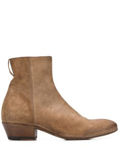 Taupe leather New Mexico ankle boots from Moma featuring an almond toe, a side zip fastening, stitched panels, a pull tab at the rear and a chunky low block heel. Loafer Mules, Loafers, Moma Shoes, Shoe Boots, Ankle Boots, Ballerina Shoes, Lace Up Shoes, Fashion Sketches, Calf Leather