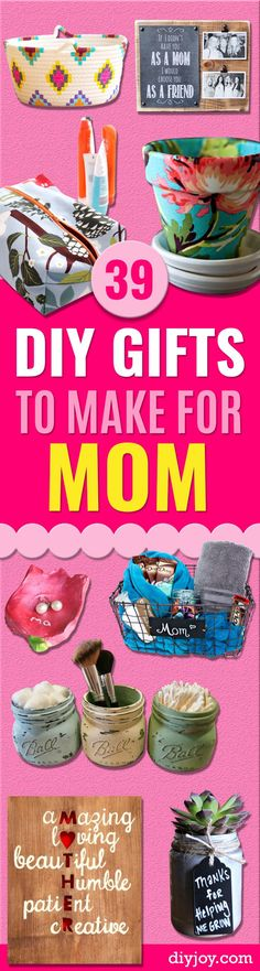 DIY Gifts for Mom - Best Craft Projects and Gift Ideas You Can Make for Your Mother - Last Minute Presents for Birthday and Christmas - Creative Photo Projects, Bath Ideas, Gift Baskets and Thoughtful Things to Give Mothers and Moms http://diyjoy.com/diy-gifts-for-mom
