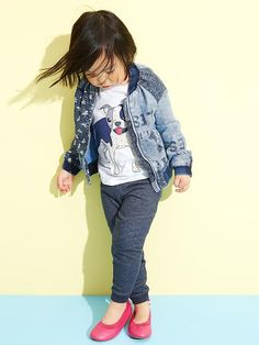 Gap Little Girls Denim Patch Bomber Jacket, Motto Pants & Ballet Flats