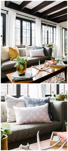 use contrast to your advantage! Dark beams and light walls make this room feel rust and fresh at the same time.   Oblong throw pillow: Pale Pink Spring Bulbs by Caroline Okun Right throw pillow: Grey Marble by Emanuela Carratoni