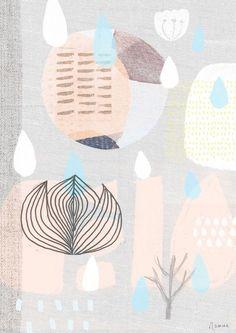Image of A4 Medium Art Print - Danish Modern Giclee Print - 58 Collage - Peach and Blue