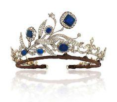Sapphire and diamond tiara dating from 1890 via Christie's