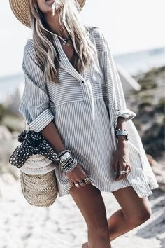 V Neck Single Breasted Striped Long Sleeve Casual Dresses – jollyluva dress outfits casual cute dresses simple dress beautiful outfits beautiful dress Striped Shirt Dress, Mini Shirt Dress, Stripe Dress, Tunic Blouse, Shift Dresses, Dresses Dresses, Fashion Dresses, Woman Dresses, Dress Outfits