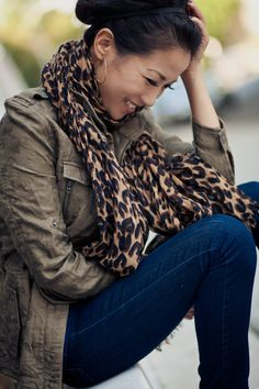 Great Jacket & Leopard Scarf : Wendy's Lookbook