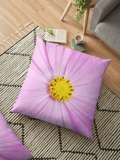 'Winter Cosmos Flower in Pink Floor Pillow by ellenhenry Floor Pillows, Throw Pillows, Floral Cushions, 2nd Floor, Carnations, Hibiscus, Cosmos, Daisy, Pillow Covers
