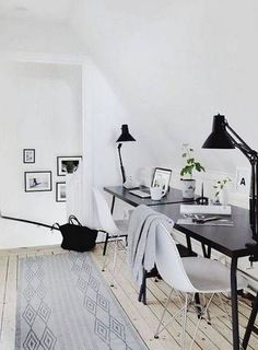 neutral minimal office decor, shared work space