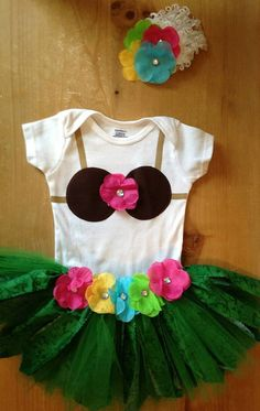 Hula Girl Scrap Fabric and Tulle Tutu Outfit by ScrapHappyTutus, $40.00