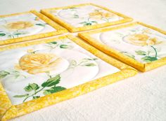 Beautiful Quilted Fabric Coasters-  Yellow Roses  Seet of Four   by PatchworkMill, $16.00
