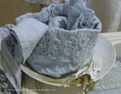 Italian lace and linen blue table napkins | The Decorating Diva, LLC