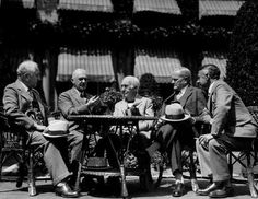 Gathered in George Eastmans garden in 1928 to discuss color cinema are, from left, Adolph Ochs, publisher of The New York Times; Eastman; Thomas A. Edison, inventor of motion pictures; Gen. John J. Pershing; and Sir James Irvine, principal and vice chancellor of St. Andrews University. Credit: Eastman Kodak Co.