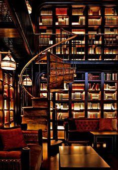 A library, even a bookshelf, is a most excellent romantic destination. A destination that travels.
