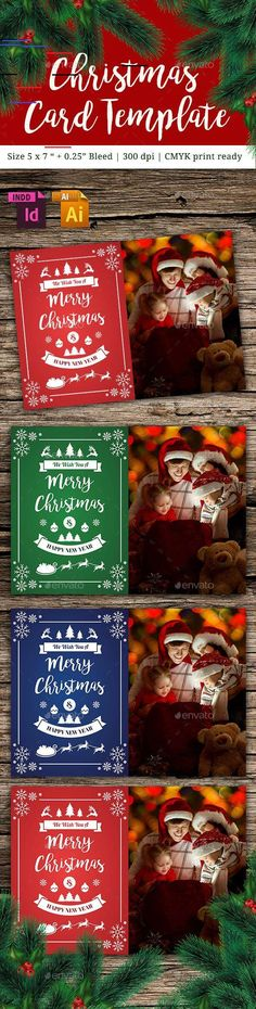 Buy Christmas Card Vol. Description : - Size inch + inch Bleed - Resolution 300 dpi - CMYK print ready - Easy to customize and chang. Bromello Font, Fonts, Christmas Card Template, Christmas Cards, Illustrator Cs6, Apples To Apples Game, Party Flyer, Christmas Design, Print Templates