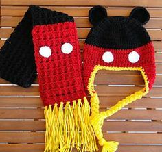 free+mickey+mouse+quilt+pattern | Mickey mouse hat and scarf. Free Pattern | Knitting & Crocheting Proj ...